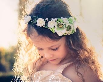 White floral crown , Flower headband, Bridal headband , Flower crown, Flower wreath, Hair band, Headwear,  Festival Garland, Wedding circlet