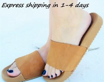 GAIA Leather Sandals, Flat sandals, Slide sandals, Greek Leather sandals, Anatomic Sandals, Minimalist sandals