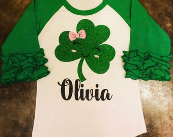 Girls Monogrammed Glitter St. Patrick's Day Ruffle Raglan. Personalized Shamrock shirt for infants, toddlers and little girls.