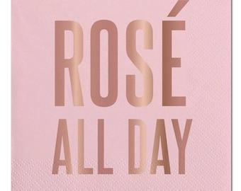 Rose All Day Napkins,Cocktail Napkins,Dessert Napkins,Pink Rose,Rose All Day Party,Rose Party,Bachelorette Party,Bridal Shower,Party Napkins