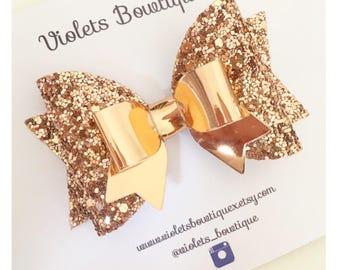 Rose Gold Glitter Bow, Rose Gold Hair Bow, Rose gold headband, Baby headband, Glitter Bow headband