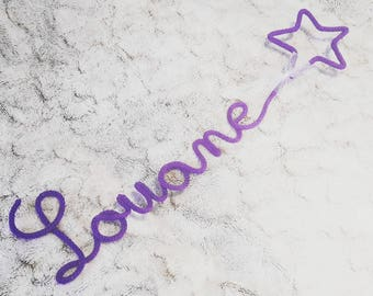Name in knitted form star - choice of colors