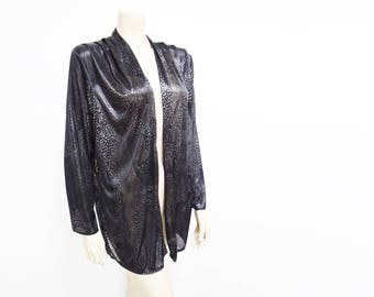 Boho Vintage, 1980s Ladies Clothing, Cardigan, Power Dressing, Cocktail, Party, Silk, Festival Clothing, Black Top