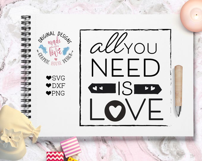 love svg, love cut file for silhouette cameo, cricut, other cutting machines, love quote, all you need is love, dxf, png heat transfer