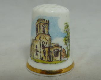 Thimble China Collectible – Melbourne Parish Church – Derbyshire – J & S Chown of  Hayle Cornwall