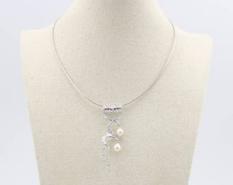 Rare Freshwater Pearl Cubic Zirconia Necklace Pendant with Solid Sterling silver  131550