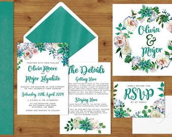 Turquoise Succulent Watercolour Floral Wedding Invitations Stationery Set - Printed or Digital Download - Teal Wedding - Wedding Printable
