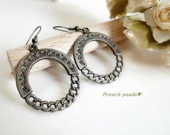 Gunmetal finish metal hoop earrings
