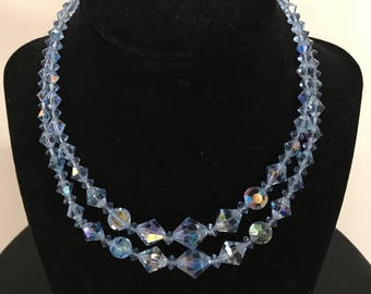 Vintage Double-stand Blue Aurora Borealis Crystal Necklace