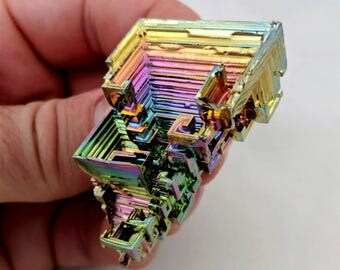Rainbow Bismuth Crystal 46g Lab Grown Jewelry Display Specimen Educational Metaphysical Metal Healing Stone