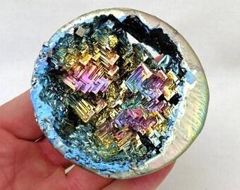 One(1) Large Bismuth Geode Display Specimen Educational Rainbow Crystal Sphere Metal Healing Metaphysical Reiki Therapy