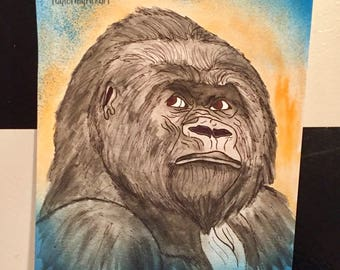 Gorilla in spray and watercolors