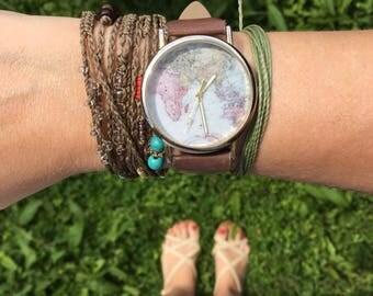 Boho wrap bracelet, macrame bracelet, natural brown bracelet, Costa Verde bracelet, beaded bracelet, Costa Rica jewelry, pura vida