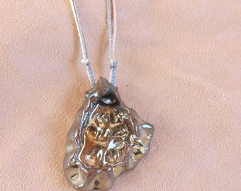 Multiwire necklace with ceramic pendant raku