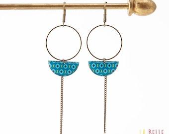 Earrings dangle half moon blue vintage pattern