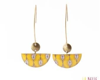 Crochet yellow wax print half moon earrings