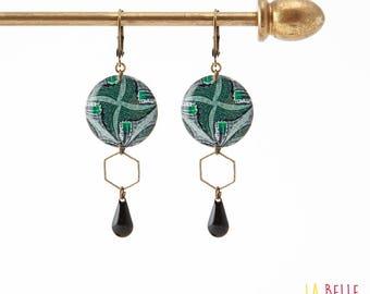 Resinees earrings round Hexagon green wax pattern