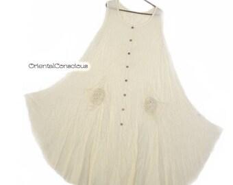 Wrinkle Gauze Cotton Flower Motif Pocket Maxi Flare Dress Cotton100% Natural Peasant Asian Boho