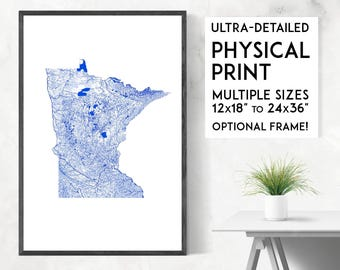 Waterways of Minnesota print | Physical Minnesota map print, Minnesota poster, Minnesota art, Minnesota map art, Minnesota wall art