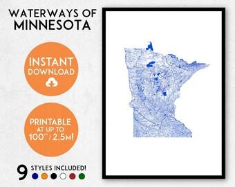 Minnesota map print, Printable Minnesota map art, Minnesota print, Minnesota art, Minnesota poster, Minnesota wall art, Rivers USA map print