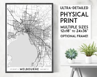 Every Road in Melbourne print | Physical Melbourne map print, Melbourne poster, Melbourne wall art, Melbourne map art, Melbourne art print