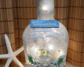 Beachy lighted wine bottle