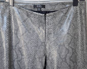 BCBG Max Azria Faux Snakeskin Pants with Split-Ankle Back Detail