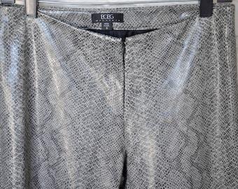 BCBG Max Azria Vegan Faux Snakeskin Pants with Split-Ankle Back Detail