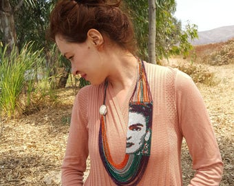 FRIDA KAHLO Necklace, Handmade necklace, Unique necklace, bohemian necklace, mexican necklace, gorgeous necklace, unique necklace