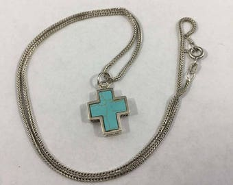 Vintage Sterling Silver Native American Turquoise Cross