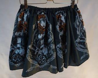 """Skater skirt """"Welding girl"""", elastic skirt, punk skirt, punk rock skirt, alternative skirt, punk feminist"""