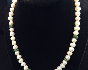 Sterling Silver Cultured Freshwater Pearl and Turquoise Necklace, Ladies Turquoise and Pearl Necklace
