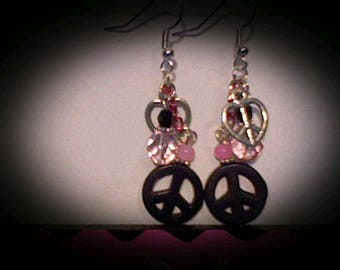 Peace sign funky earrings. Black magnesite charm w/pink accent beads.