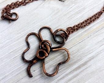 Copper Clover Necklace