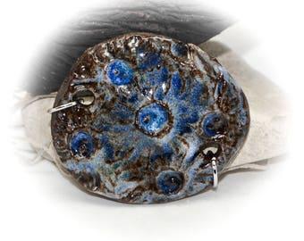 Rustic Blues - Handmade Stoneware Pendant #425