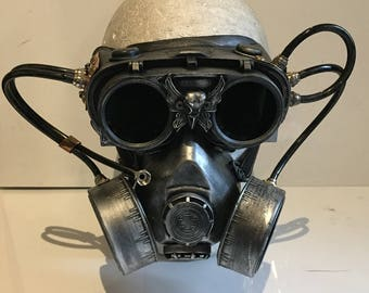 Steampunk Respirator Gas Mask And Goggles, With Pipework Post Apocalyptic Survival, Mad Max, Burning Man Wasteland Style And Flip Up Goggles