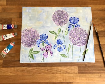 Iris - Hand-painted Acrylic Canvas