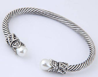 Faux Pearl Silver Open End Bangle  - Gift for Her, Christmas Gift,