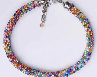 Colored, crochet chain