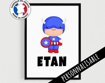 Poster A4 superhero kids personalized with name - super hero french quote poster