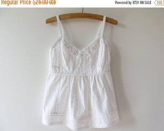 ON SALE Embroidered White Cotton Spaghetti Straps Top Beads Women Summer Blouse Sleeve less Boxy Shirt Embroidery Top Beaded Blouse Small Si