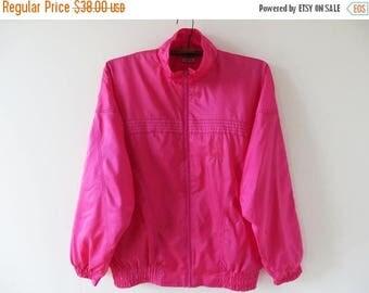 ON SALE Vintage 80s Pink Windbreaker Fuchsia Hipster Jacket Pink Nylon Jacket Pink Bomber Jacket Pink Jogging Jacket Bright Track Jacket Siz