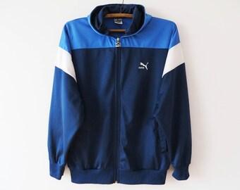 Vintage Blue Puma Hoodie Sport Jacket Puma Sweatshirt Blue Zip Up Jacket Puma Sporty Hooded Jacket Athletic Track Jacket Size Large