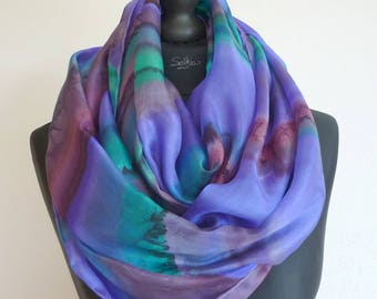 Shawl, scarf, scarf, pareo... 4 in 1. Great Blue fluid and light silk scarf. Unique painted, signed, hand hemmed.