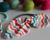 Teal & Coral Scallop Knot Hair Tie