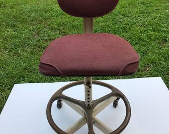 Vintage Drafting Chair,  Adjustable Office Chair, Cramer Industries, Red Chair, Industrial Swivel Chair,