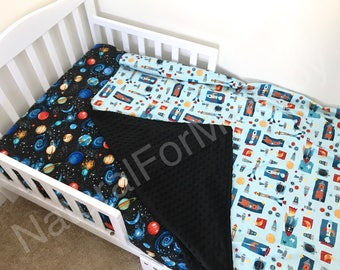 Space Toddler Boy Bedding Set Moon Toddler Blanket Comforter Fitted Sheet Pillow Case Planets Toddler Bedding