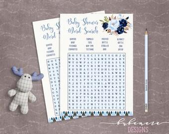 Blue Floral Baby Shower Word Search Game Boy Baby Digital Tribal Aztec Shower Trivia Cute Boy Printable Quiz Card Baby Birth Game - CG008