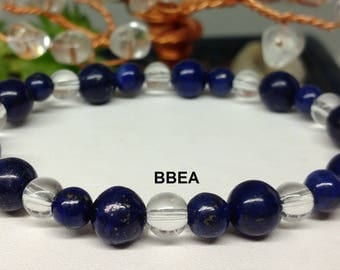 Bracelet Lapis Lazuli 6 and 8mm and 6mm Crystal