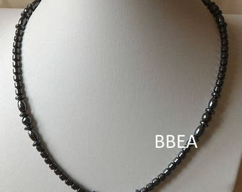 Hematite necklace beads twisted and 4mm bicone beads